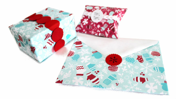 Mitten Montage gift wrap design by Tonia Dee