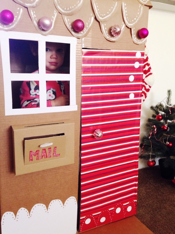 DIY  Holiday Cardboard Box Gingerbread Playhouse toniadee.com