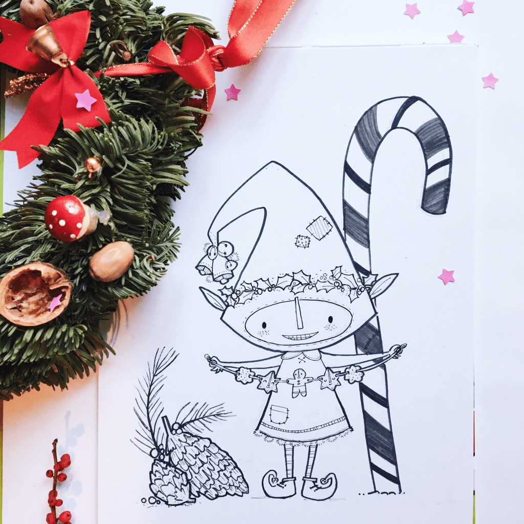 Little Christmas Elf - holiday illustration by Tonia Dee - toniadee.com